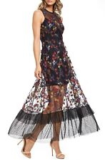 DRESS the POPULATION Humming Bird Floral Embroidered Lace Tulle GINA Midi LARGE
