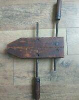 """RARE Vintage Keystone 12"""" Adjustable Wood Screw Clamp Vise Woodworking Tools"""