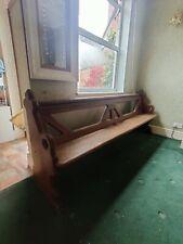 More details for antique solid oak church pew bench