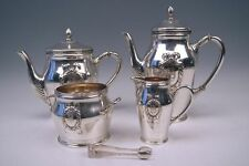 SILBER KAFFEE TEE SERVICE DEUTSCH DÜSSELDORF SILVER COFFEE TEA SET UM 1910 TOP