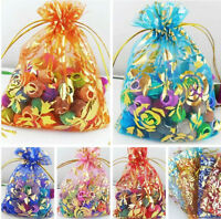Free Ship 50Pcs Rose Organza Jewelry Packing Pouch Wedding Favor Gift Bag