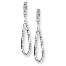 14k White Gold Teardrop Dangle Round Diamond Fascination Hinged Hoop Earrings