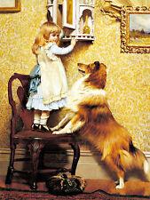 Charles Burton Barber-Una bambina e sua Sheltie tela - 24'