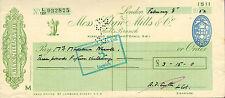 "glynn.mills & co "" holts branch whitehall london "" febuary 8th 1952."