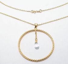 Genuine London Blue Topaz Circle Charm Pendant w/ Chain 14K Yellow Gold
