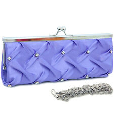 Pleated front clutch evening bag with rhinestone purple