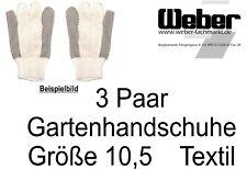 "3 Paar Herren - -Gartenhandschuhe ""Natura"" Baumwolle / Gummi Gr. 10,5  950301046"