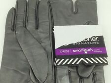 Women's ISOTONER Brand Gray LEATHER DRESS Gloves - size 7.5 - $56 MSRP - 25%