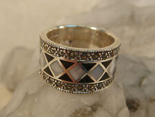 STERLING MOTHER OF PEARL MARCASITE RING WIDE ARTISAN HANDCRAFTED NF THAILAND