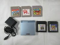 L285 Nintendo Gameboy Advance SP console Pearl Blue & 5 Game Adapter Japan GBA