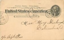 """Columbis Ohio~1906 Postal to Mary Harbaugh, Columbus From """"A. Candle"""" 1894"""