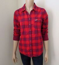 Hollister Womens Plaid Shirt Size Large Top Western Button Down Blouse Red Blue
