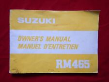 SUZUKI 1981 RM465 RM 465 OWNERS MANUAL 99011-14220-01B 1982