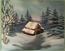 "bob ross style oil painting Signed by painter 16"" X 20"" canvas"