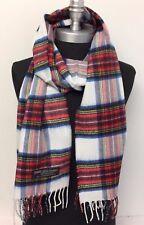 Men/Women 100% CASHMERE SCARF Wrap SCOTLAND Classic Plaid White/red/blue#n3m