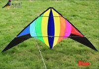 NEW 2.2m Rainbow stunt Power Kite outdoor Sport fun Toys dual line multicolor
