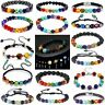 7 Chakra Healing Eight Planets Bead Bracelet Natural Lava Stone Diffuser Bangle