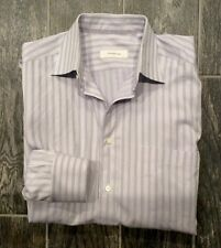 "Mens Ermenegildo Zegna Dress Shirt Size 39 15 1/2"" Light Purple With Stripes EUC"