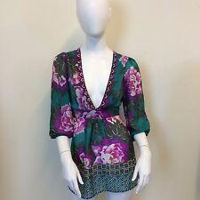 Monsoon Ladies Teal Floral Deep V-Neck Embellished Chiffon Blouse Top UK Size 10