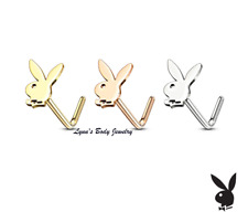 Playboy Bunny Stud * 316L Surgical Steel L Shape Nose Ring (Select Color)