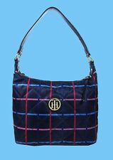 TOMMY HILFIGER Navy/Pink Quilted Nylon & Leather Shoulder Bag $78 *New with Tag*
