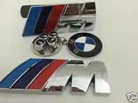 Front Grill+ Rear Boot Badge BMW M Sport chrome+ bmw keyring+M Power Valve Caps