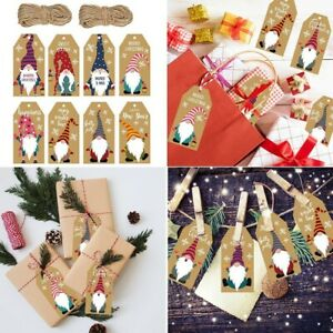 100 Pcs Vintage Blank Kraft Paper Tag With String Christmas Festival Gift Decor