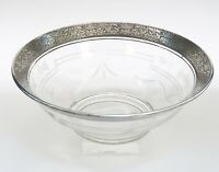 ANTIQUE ART DECO SILVER RIMMED ETCHED GLASS BOWL ~ 9.5""