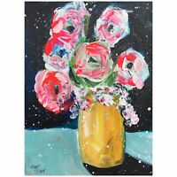 Matt Scalf Flowers Floral Vase ORIGINAL PAINTING 9x12 Abstract Expressionism
