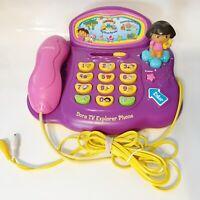 Vtech 2007 Dora The Explorer Tv Phone Boys Girls Plug Play Learn TESTED WORKING