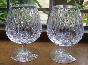 "1 PAIR BEAUTIFUL STUART CUT GLASS CRYSTAL BRANDY GLASSES 5"" WINDSOR 1ST QUALITY"