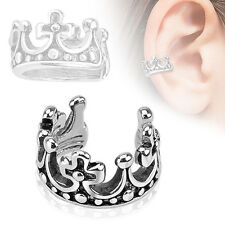 Crown Design Rhodium Plated Brass Non Piercing Cartilage Ear Cuff Ring