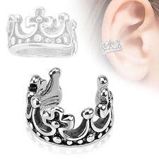 Crown Design Rhodium Plated Brass Non Piercing Cartilage Ear Cuff Ring