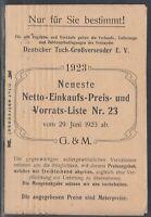 46315) CHEMNITZ 1923 Drucksache Deutscher Tuch-Großversender e. V. Preisliste