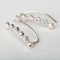 Ear Climber Earrings White Rhinestones Set In 925 Sterling Silver Cuff