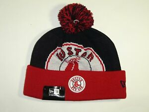 New Era MLB Boston Red Sox Team Logo 2Tone Cuffed Pam Knit Beanie Hat Cap NewEra