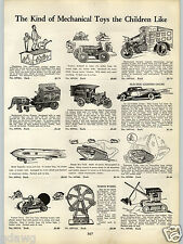 1934 PAPER AD Hoge Mechanical Toy Motorcycle Traffic Cycle Car Zeppelin Tank