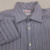 Ted Baker Endurance Men's Dress Shirt French Cuff Size 16.5 34 Striped Gray Blue