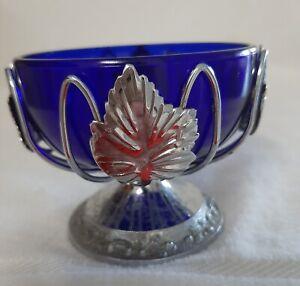 SERVING BOWL ROUND PEDESTAL WITH COBALT BLUE GLASS INSERT SILVERPLATE ENGLISH
