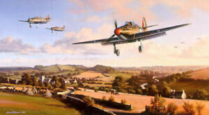 Nic Trudgian Hawker print Hurricane Heroes signed by 3 Battle of Britain pilots