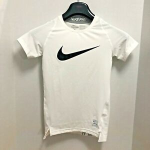 NIKE PRO - DRI-FIT WHITE S/S POLO WITH BLACK LOGO STENCIL SZ. L / 12