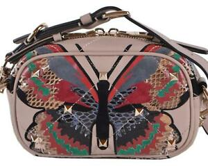 NEW Valentino Garavani Rockstud Leather Lizard Buttterfly Mini Crossbody Purse