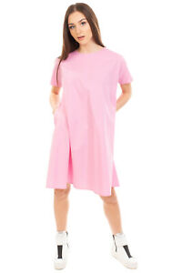 RRP€230 M BY MAIOCCI Trapeze Dress Size 38 S Pink Short Sleeve Crew Neck