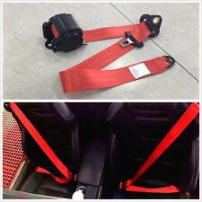 Car Retractable Red 3 Point Safety Seat Belt Lap Seatbelt 88cm-137cm Adjustable