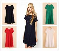 New Lady Short Sleeve O-Neck Plus Size Lace Dresses Vestidos Summer Sundress
