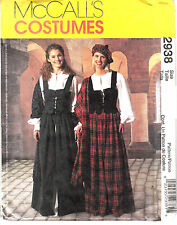 MCCALLS Celtic Costume Miss 6 8 10 Sewing Pattern Scottish Weskit Shawl 2938