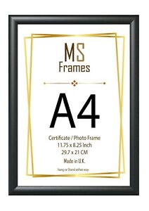 A4 Photo Frame Picture Frame Certificate Frame BLACK Classic D Shape Moulding