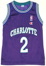 Vintage Champion NBA Jersey Youth S 8 CHARLOTTE HORNETS LARRY JOHNSON Throwback