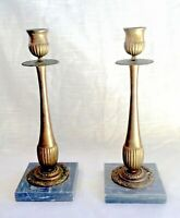 Pair of Vintage Brass Candle Holder/Sticks on Marble Bases