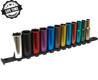 "Sealey Multi-Coloured Socket Set 12pc 3/8""Sq Drive 6pt Deep WallDrive 8 to 19mm"